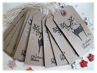 Handmade Large Christmas Gift Tags 12 Shabby Chic/Vintage Style Luggage Label
