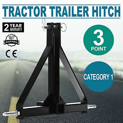 """Black 3 Point 2"""" Receiver Trailer Hitch Category 1 Tractor Tow Drawbar Adapter"""