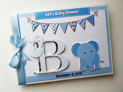 Personalised Blue Elephant Baby Shower Boy/girl Guest Book - Any Design