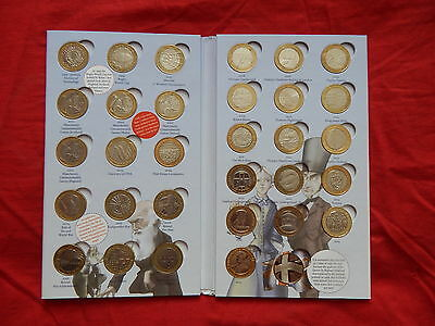 Full Set Of Two 2 Pound Coins In Hunt Album  With Completer Medallion.