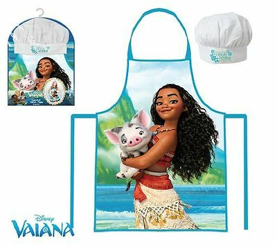 Girls Kids Disney Moana /  Vaiana Chef Cook Gift Set Includes Apron And Hat