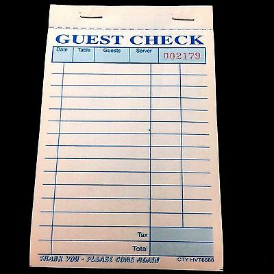 Guest Check 3 Part Carbonless Booked, Pack of 10 Books 330 checks