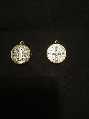 St. Saint Benedict silver and gold Colour 19mm medal