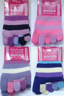 Ladies Warm Fun Birthday Gift Novelty Striped Toe Socks One Size 4 - 6