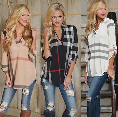 Women's Printed V Neck Loose Long Sleeve Casual Shirt Tops New Fashion Blouse AU