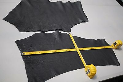 x2 Charcoal Grey Cowhide Elmo Upholstery Leather Pieces Semi-Aniline soft