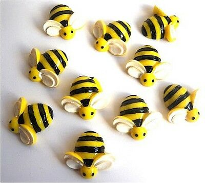 Large 10 Bumble Bees Flatback Cabochons  With Free Fast Shipping