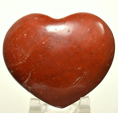"""3"""" Natural Brecciated Red Jasper Puffy Heart Crystal Palm Stone - India + Stand"""