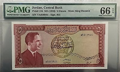 Jordan Bsnknote 5 Dinar Year 1959 *UNC* Graded 66 By PMG