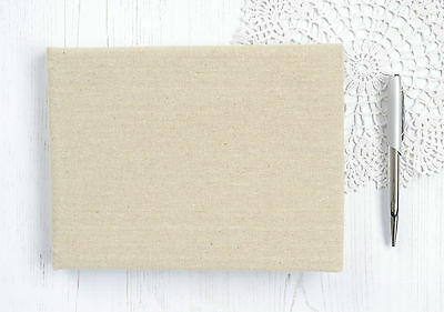 Plain Guest Book. DIY Guest Book. Linen Covered Rustic Wedding Guest Book.
