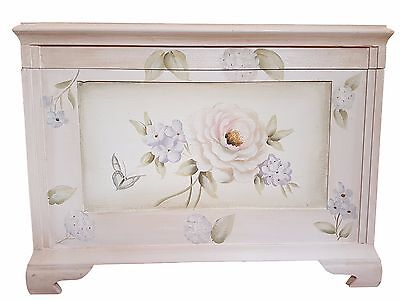 hand painted wooden storage trunk chest in floral rose stunning bedroom bedding