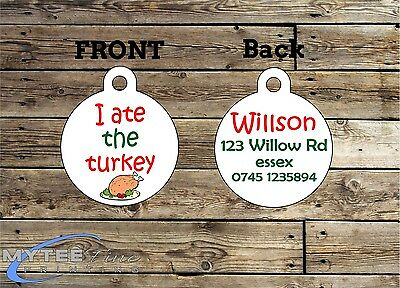 Christmas Dog ID Tags - I Ate The Turkey - Double Sided Personalized Charm