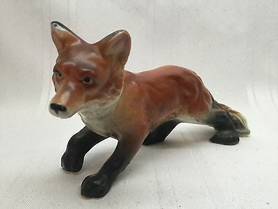 """Vintage Red Fox Figurine Ceramic Porcelain about  6"""" long and 3"""" tall S5-A"""