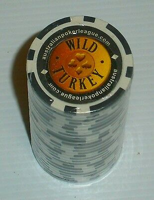 Wild Turkey Bourbon sealed roll of 25 black poker chips for home bar collector