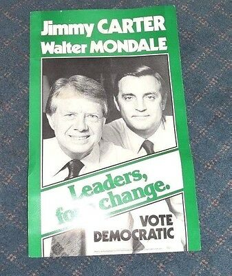 Official 1976 DEMOCRAT Poster CARTER MONDALE Campaign Rally POLITICAL Vintage