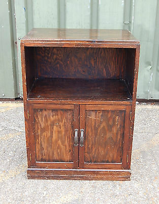 Mid century oak double door linen / pot cabinet cupboard in a dark wood stain