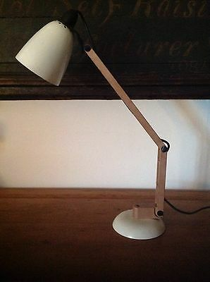 VINTAGE CREAM MACLAMP with FAUX WOODEN ARM