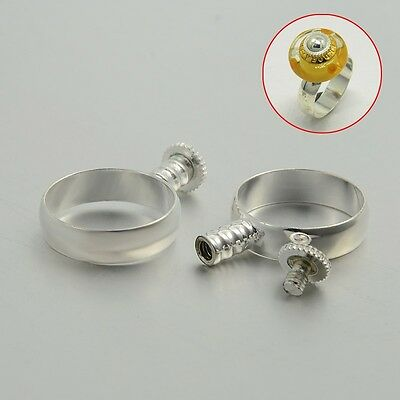 10PCS Silver Tone Brass Ring Components for European Beads 17mm Jewelry Finding