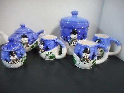 6 Pieces Christmas Snowman Tea Set and Cookie Jar Hermitage Pottery