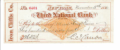 ANTIQUE CHECK  1880  THIRD NATIONAL BANK of NEW YORK  REVENUE STAMP