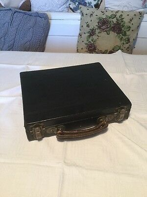 ANTIQUE Small Victorian Black Wood CASE/ Box Storage Trade Marked • £22.39