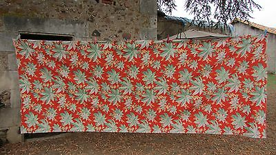 LONG LENGTH ANTIQUE FRENCH VIBRANT TOILE COTTON LEAF & BERRY c1930 UNUSED 4x10ft