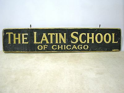 Antique Painted Sign, Chicago's Famed Latin School - Black & Gilt Lettering 5 Ft
