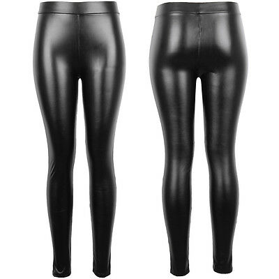 Women High Waist Black Faux Leather Leggings Wet Look Shiny Stretchy Tight Pant