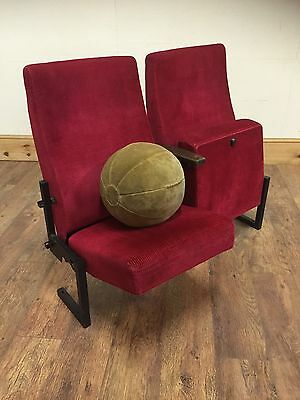 2 Vintage Cinema Theatre Seats Chairs  Shabby Chic Retro