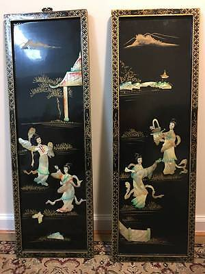 Vintage Geisha Girls in Mother of Pearl Relief Oriental Art Panels - Set of two