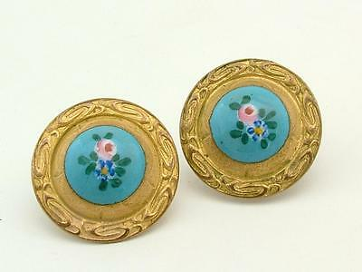 Antique Georgian Enamel/Pinchbeck Flower Button  Studs/Earrings