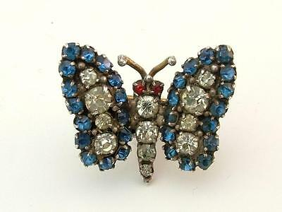 Antique Edwardian Tiny Multicoloured Paste Butterfly Brooch/Pin