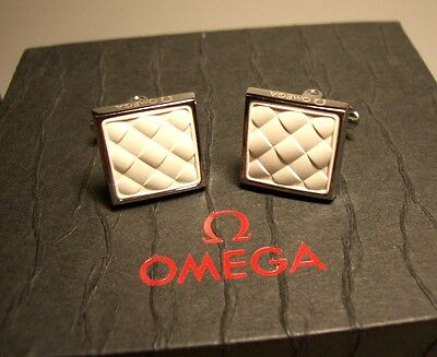 OMEGA white cufflinks with box and document - perfect item for watch aficionado