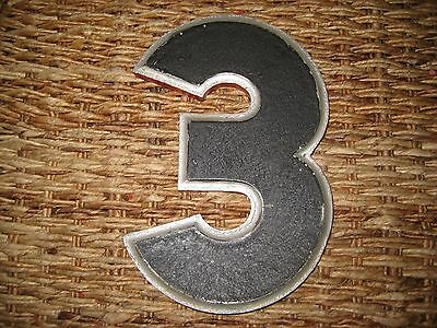 "Vintage/Antique Cast Metal Architectural Number ""3"" Wagner Sign Service Co."