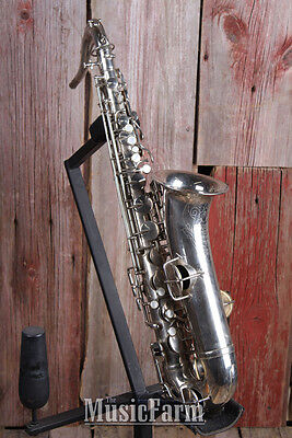 H N White King Vintage 1920s C Melody Saxophone Silver Made in the USA