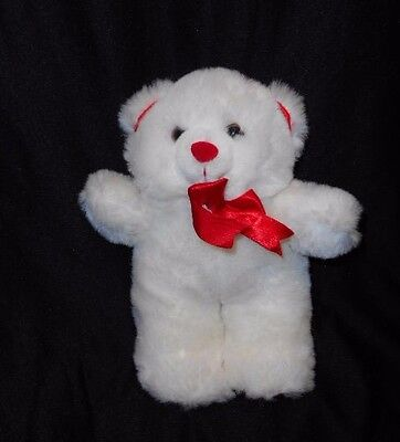 """9 """" White Plush Stuffed Teddy Bear Red Bow Nose & Lower Paw Pads Valentines Day"""