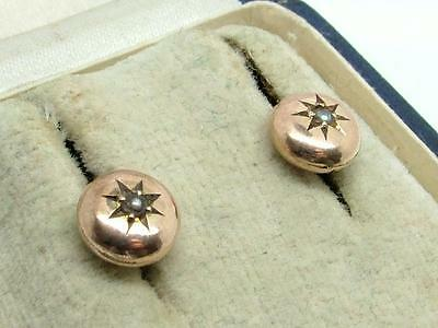 Pair of Antique Georgian/Victorian 9ct Rose Gold & Seed Pearl Earrings