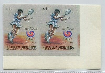 Tennis Argentina Rare Imperf Mint Mnh Stamps Olympic Woman Sport Korea # 59461