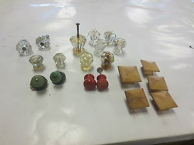 Vintage Antique Clear Glass & Wooden Drawer Pull Knob's Lot of '20'