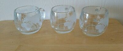 3 Nestle Frosted Glass World Globe Coffee Cups