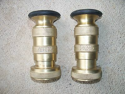 """NEW Solid Brass Adjustable Fire Hose Fog Nozzles 1-1/2"""" NST w/bumper"""