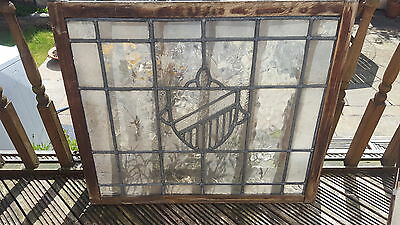 Large Victorian leaded stained glass sash window Original vintage Antique shield