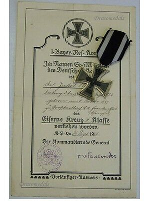 Germany WW1 Iron Cross EK2 w DIPLOMA 1916 Decoration Military Merit 1914 1918