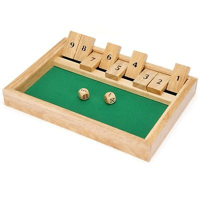 Wood Wooden Shut The Box Traditional Family Dice Board Game  Kids Childrens Fun