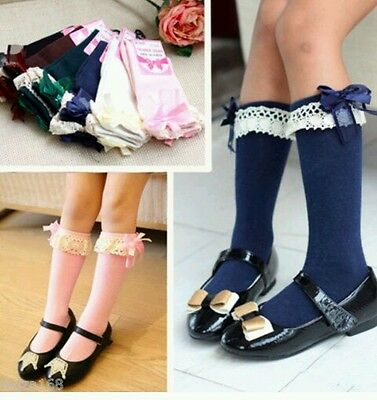 Girls/toddler/baby 3/4 knee high length socks with organza bow blue