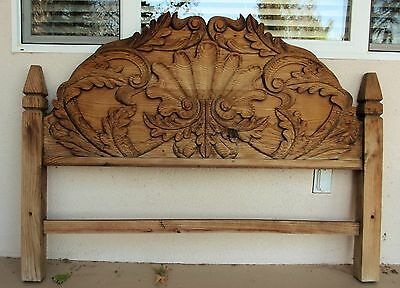 "VINTAGE RUSTIC HAND CARVED MEXICAN TWIN HEADBOARD 53.5"" W  x 40"" H x 3"" T 30 lb"