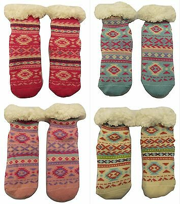 Kids Girls Cosy Fair Isle Thermal Socks, Ultimate Sherpa Fluffy 4.7 Tog Socks