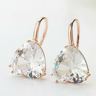18K Rose Gold Filled Elegant Italian Solitaire Diamond Heart Stud Earrings 20mm