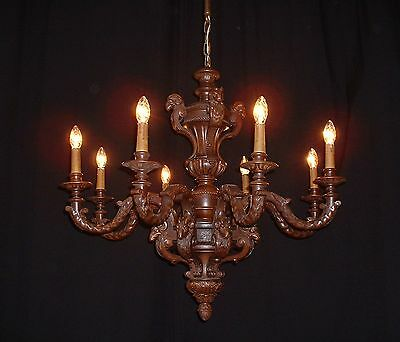 Antique French hand carved wood chandelier with 12 Ram heads 19th Century