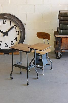 Vintage Industrial Toledo Uhl Typewriter Table For Chair Machine Age Laptop Desk